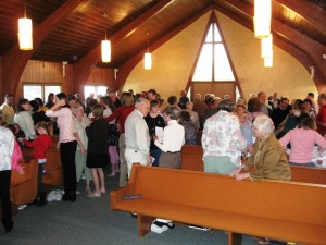The congregation in worship
